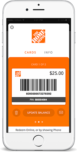 The Home Depot mobile giftcard on Benefit Mobile app