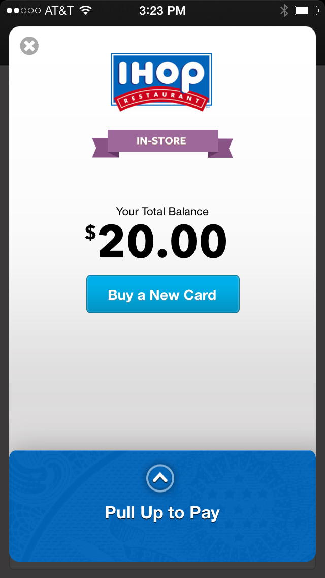 Benefit Mobile app purchasing $20 IHOP gift card
