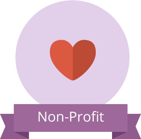 "Heart icon with banner reading ""Non-Profit"""