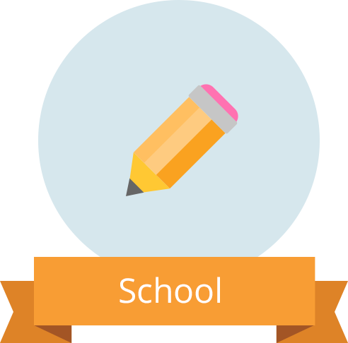 "Pencil icon with banner reading ""School"""